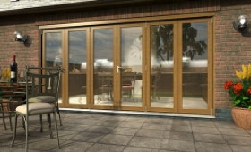 Part Q Solid Oak Bifold Door 4200mm (14ft)  Image