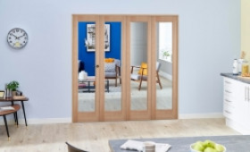 Slimline Glazed Oak 4 Door Roomfold Deluxe ( 4 X 381mm Doors ) Image