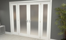 """Obscure White French Door Set - 27"""" Pair + 2 X 21"""" Sidelights Image"""
