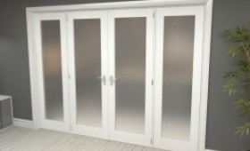"""Obscure White French Door Set - 27"""" Pair + 2 X 24"""" Sidelights Image"""