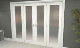"""Obscure White French Door Set - 27"""" Pair + 2 X 22.5"""" Sidelights Image"""