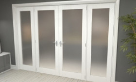 """Obscure White French Door Set - 30"""" Pair + 2 X 24"""" Sidelights Image"""