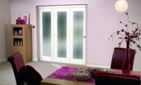"White Bifold 3 Door System ( 3 X 24"" Doors ) Frosted. Image"