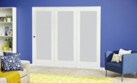 White P10 Frosted Roomfold Deluxe ( 3 X 762mm Doors ) Image