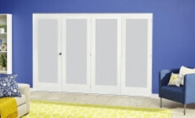 White P10 Frosted Roomfold Deluxe ( 4 X 533mm Doors ) Image
