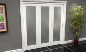 White P10 Frosted Roomfold Grande 1800mm (6ft) 2 + 1 Set Image