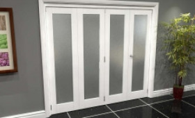 White P10 Frosted Roomfold Grande 2400mm (8ft) 3 + 1 Set Image