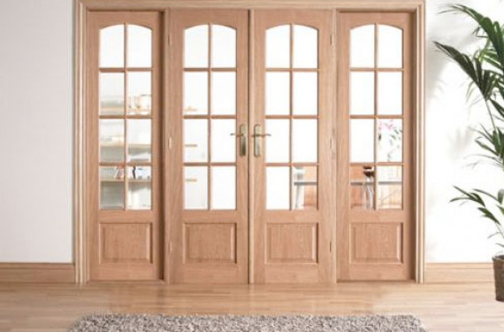 W8 Oak Room Divider Set With Sidelights