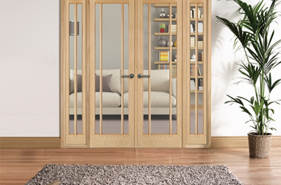 W6 Lincoln Oak Internal Room Divider Set With Sidelights