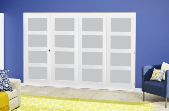White 4l Frosted Roomfold Deluxe ( 4 X 686mm Doors )