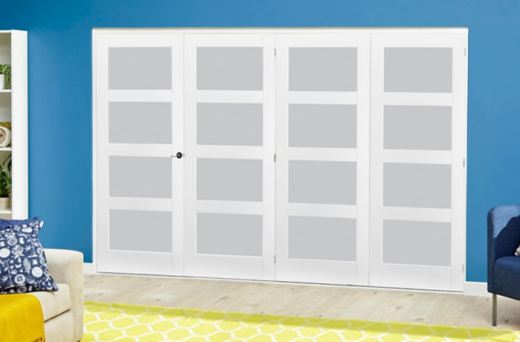White 4l Frosted Roomfold Deluxe ( 4 X 762mm Doors )