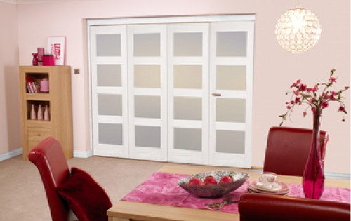 White 4l Shaker Roomfold - Frosted