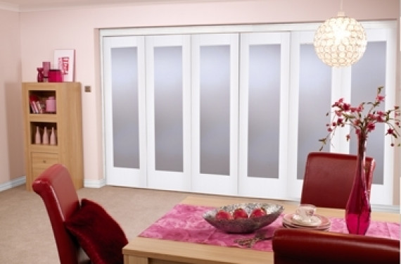 White Bifold 6 Door System ( 5 + 1 X 24