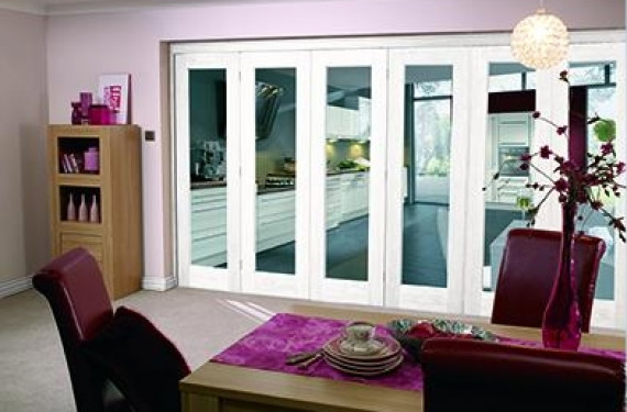 White Bifold 6 Door System (5 + 1 X 2'3