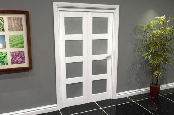 White Frosted 4l Roomfold Grande (2 + 0 X 573mm Doors)