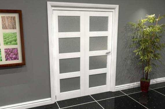 White Frosted 4l Roomfold Grande (2 + 0 X 686mm Doors)