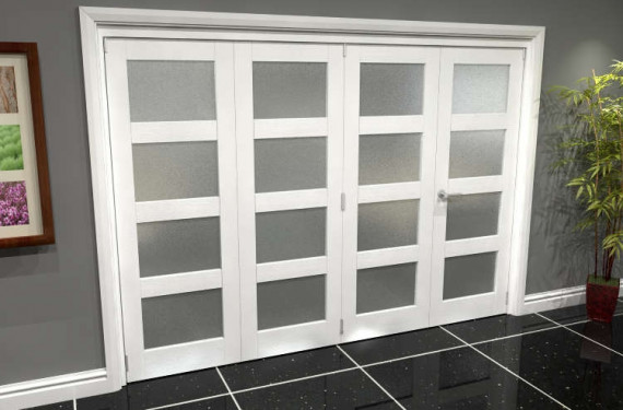 White Frosted 4l Roomfold Grande (3 + 1 X 686mm Doors)