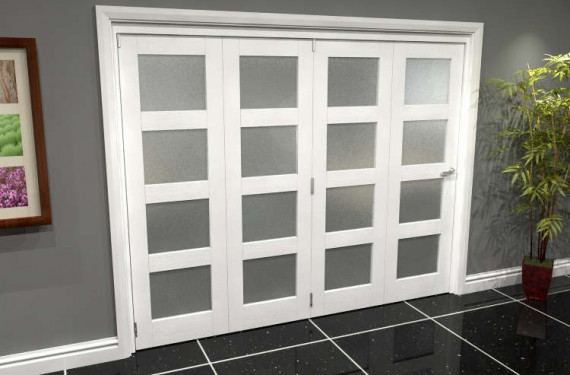White Frosted 4l Roomfold Grande (4 + 0 X 610mm Doors)
