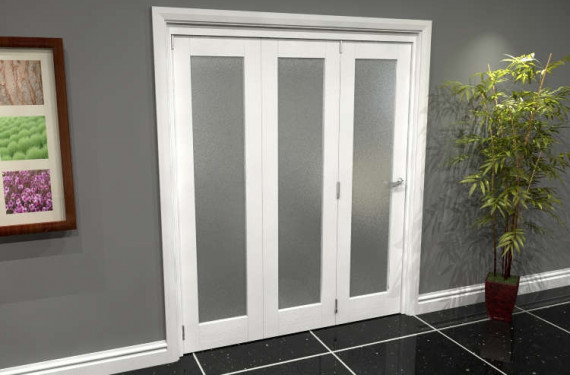 White P10 Frosted Roomfold Grande 1800mm (6ft) 3 + 0 Set