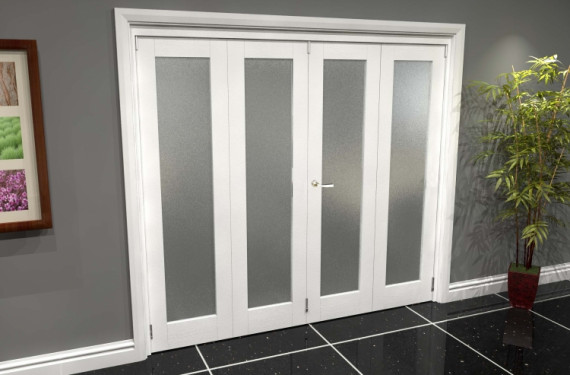 White P10 Frosted Roomfold Grande 2400mm (8ft) 2 + 2 Set