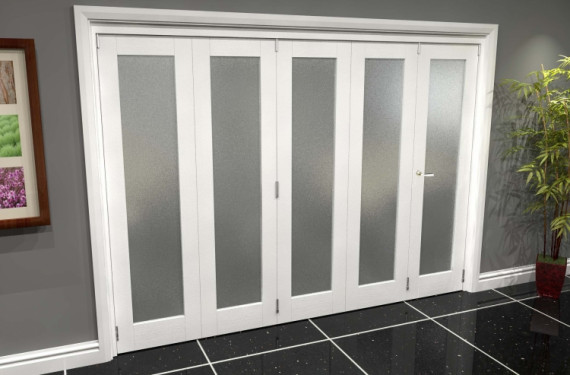 White P10 Frosted Roomfold Grande 3000mm (10ft) 4 + 1 Set