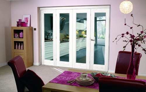 Glazed White P10 Roomfold - Clear Glass