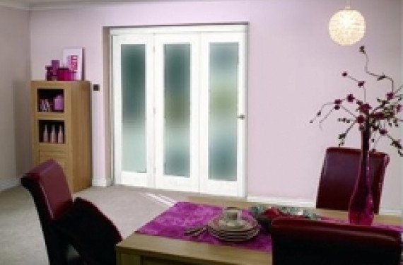 White Bifold 3 Door System (1800mm 6ft) Frosted.