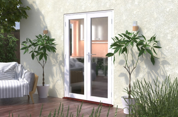 1500mm (5ft) Classic White French Doors - Climadoor