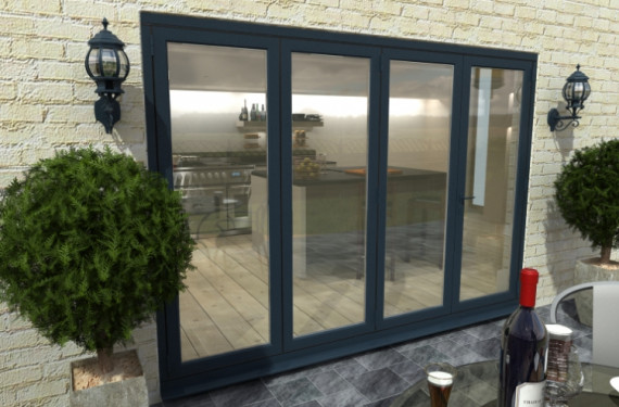 3000mm ( 3 + 1 ) Grey Aluminium Bifold Doors - Climadoor