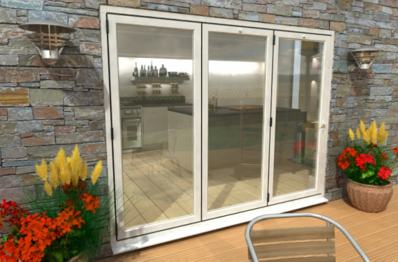 2700mm White Aluminium Bifold Doors - Climadoor