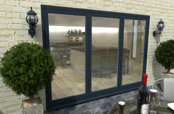 3000mm ( 3 + 0 ) Grey Aluminium Bifold Doors - Climadoor