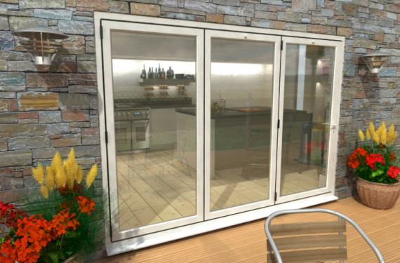 3000mm ( 3 + 0 ) White Aluminium Bifold Doors - Climadoor