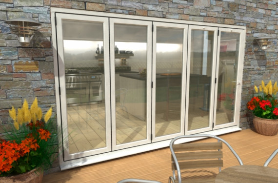 3600mm ( 5 + 0 ) White Aluminium Bifold Doors - Climadoor