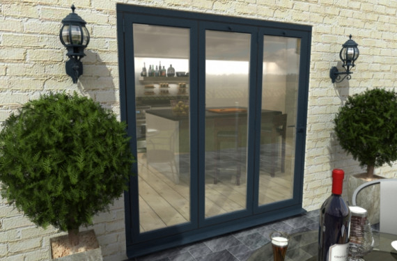 2100mm Grey Aluminium Bifold Doors - Climadoor