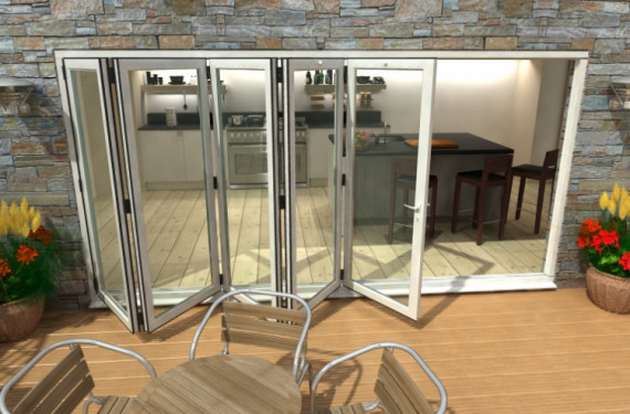 4200mm ( 5 + 0 ) White Aluminium Bifold Doors - Climadoor