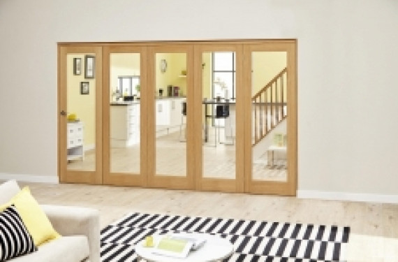 Glazed Oak - 5 Door Roomfold Deluxe ( 5 X 573mm Doors 3000mm Set )