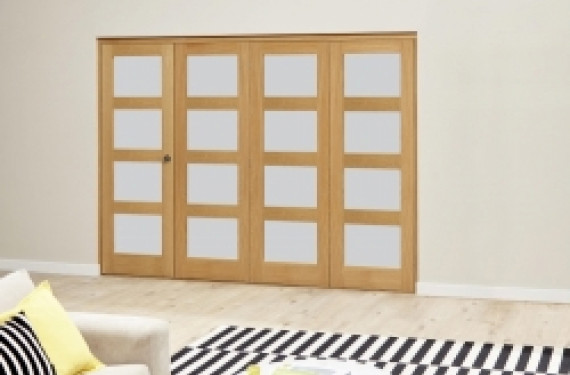 Oak 4l Shaker Glazed Roomfold Deluxe - 2370mm X 2078mm (2400mm Set)