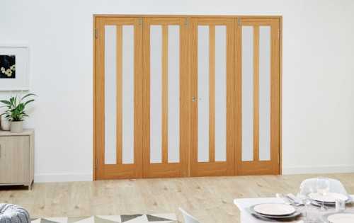 Aston Oak Frenchfold Room Divider - Frosted