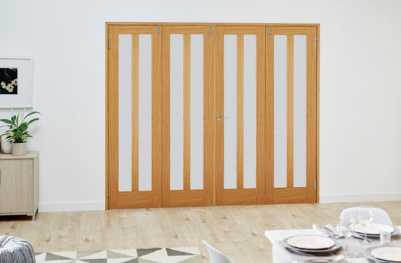 Aston Oak Frosted - 4 Door Frenchfold (4 X 2'3