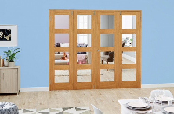 Clear Glazed Oak Unfinished 4l 4 Door Shaker Frenchfold (4 X 1'9
