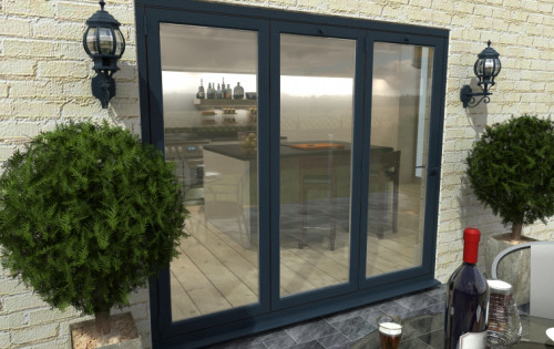 Climadoor Grey Aluminium Bifold Doors - Part Q Compliant