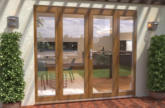 Climadoor Solid Oak French Doors 1500 Pair With 2 X 450mm Sidelights