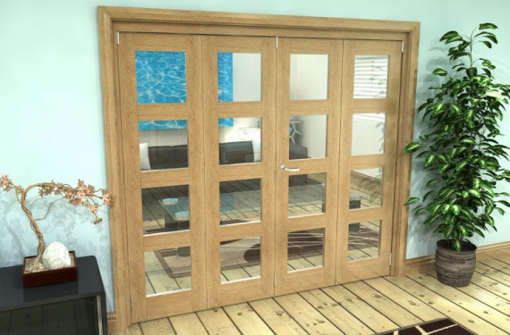 Glazed Oak Prefinished 4 Door 4l Roomfold Grande (2 + 2 X 686mm Doors)