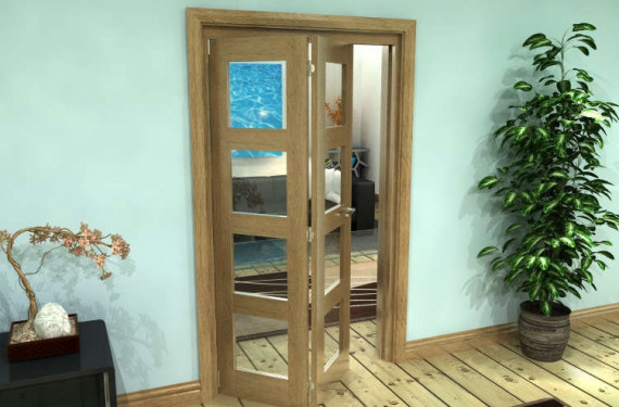 Glazed Oak Prefinished 2 Door 4l Roomfold Grande (2 + 0 X 533mm Doors)