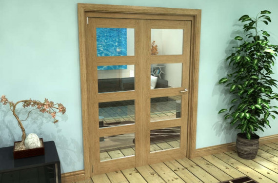 Glazed Oak Prefinished 2 Door 4l Roomfold Grande (2 + 0 X 686mm Doors)