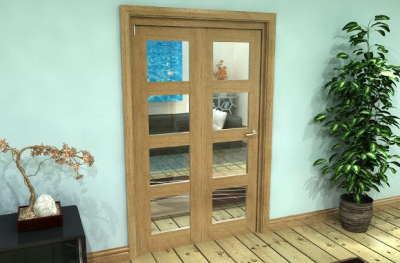 Glazed Oak Prefinished 2 Door 4l Roomfold Grande (2 + 0 X 573mm Doors)
