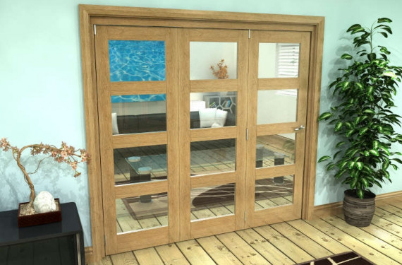 Glazed Oak Prefinished 3 Door 4l Roomfold Grande 1800mm (6ft) Set