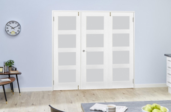 Frosted Glass White Primed Shaker Frenchfold 4l  3 Door (3 X 1'9