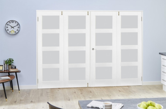 Frosted Glass White Primed Shaker Frenchfold 4l  8ft (2374mm) Set