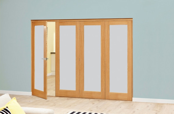 Frosted Glazed Oak - 4 Door Roomfold Deluxe (4 X 2'6